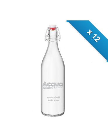 Bottiglia mod. Giara - 12 pz - Gas - con logo H2O
