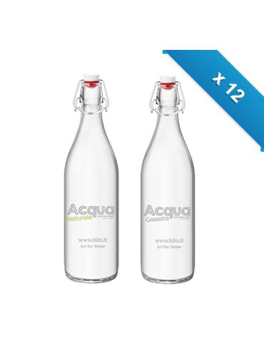 Bottiglia mod. Giara - 12 pz - Nat - Gas - con logo H2O